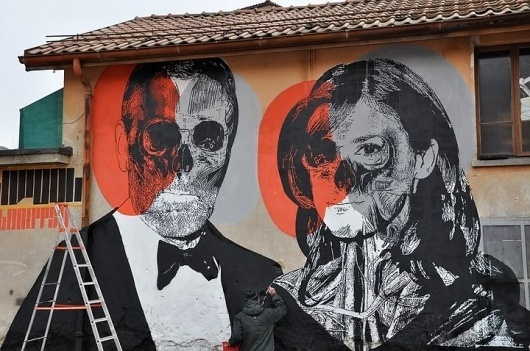 love is holliwood 02 by ~orticanoodles on deviantART #skull #wall #art #street