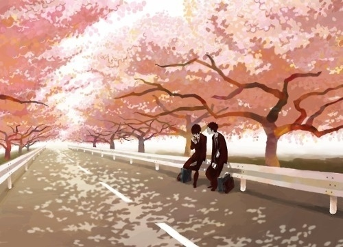 boys, cartoon, landscape, road, sakura, school - inspiring picture on Favim.com #road