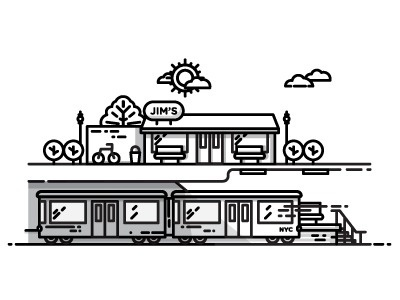 City #train #vector #line #city #illustration #art