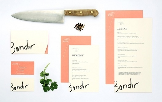 bondir_set.jpg (JPEG Image, 675×427 pixels) #handwriting #salmon #branding #stationery
