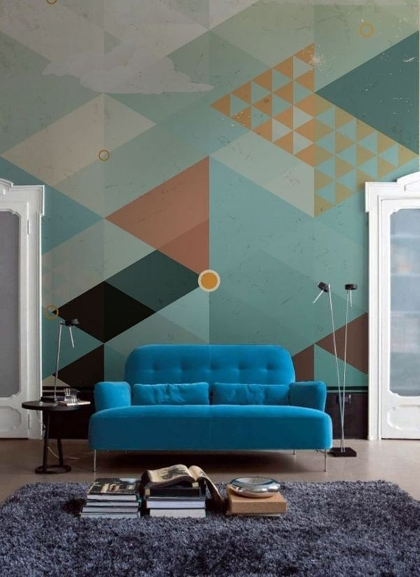 Geometric Wall Design from PIXERS #interiors #living #room