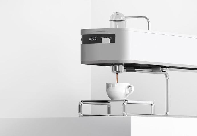 Minimal design Espresso machine -Pouring coffee