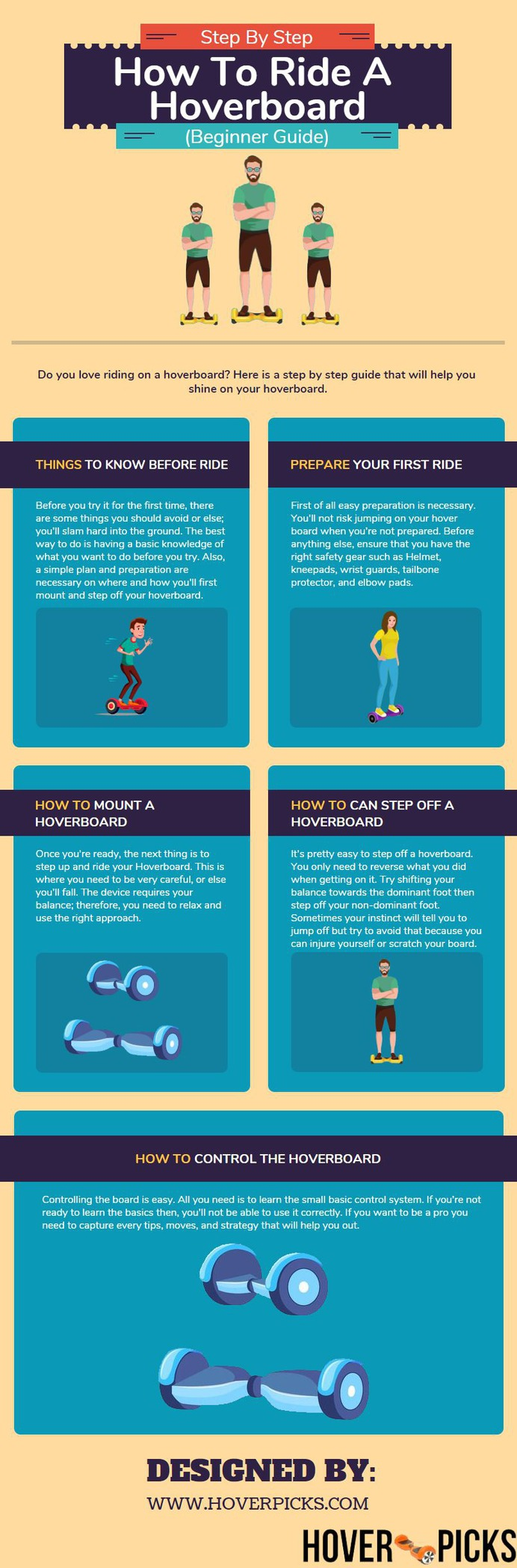 How To Ride A Hoverboard Infographic. Riding on a hover can be easy for you if you know the tricks. Read the helpful article and infographic to learn how to ride on a hoverboard as a beginner.