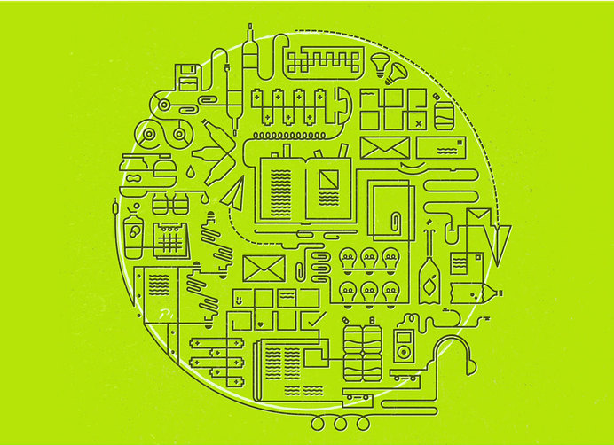 Recycling illustration via Patrick Iadanza #sustainable #recycle #line #electronics #cycle #sustainability #illustration #paper