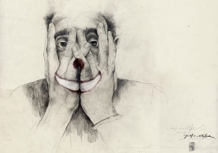 PHILLENNIUM BLOG - Philipp Zurmoehle Design Blog #prades #simon #clown #portrait #hands #face #drawing