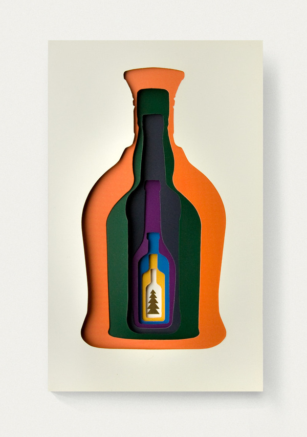 New year greeting card for Pernod Ricard #layers #year #bottle #card #color #holiday #greeting #postcard #mas #alchogol #new