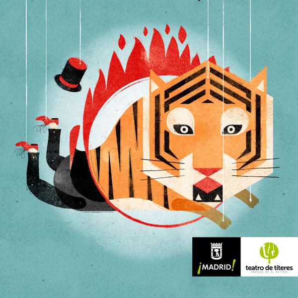 Álvaro Laura Illustration #illustration #circus #tiger #texture