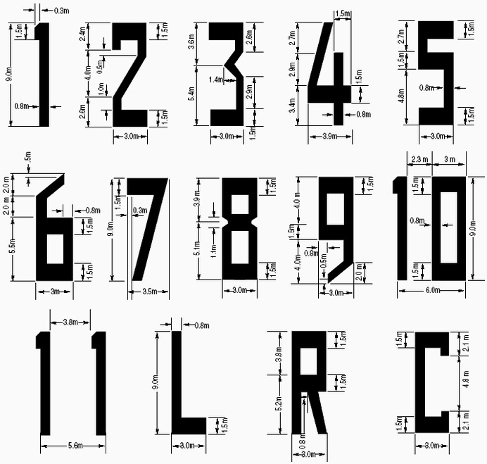 These geometric numbers are used on runways due to their unmistakable shapes and their ability to be easily drawn. Image: Transport Canada #fonts #airports #aircraft