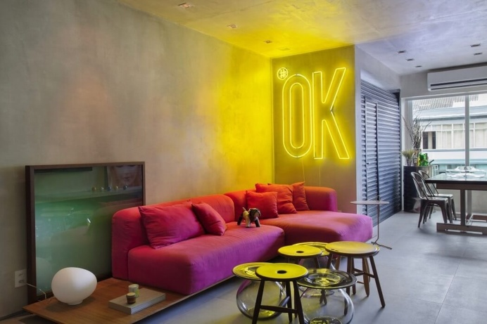 neon living room in interior design decoration. Black Bedroom Furniture Sets. Home Design Ideas