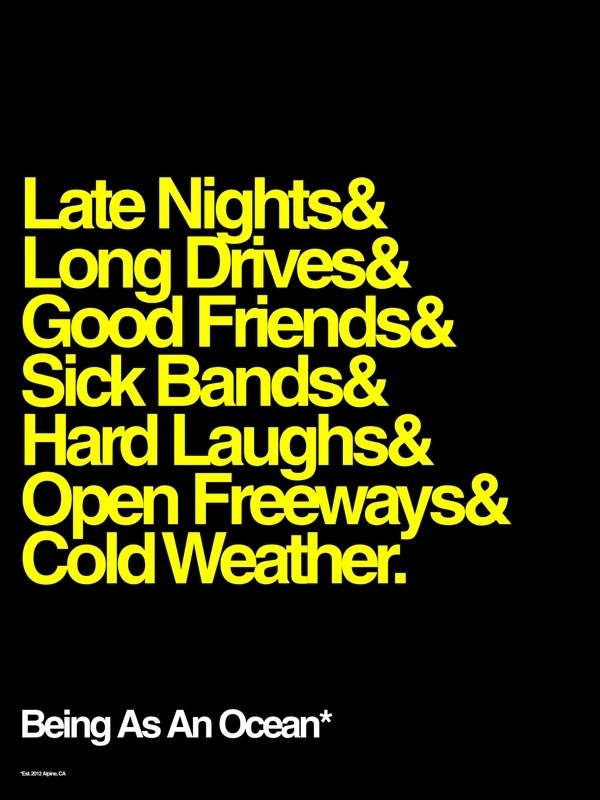 Late Nights & Long Drives #ocean #an #weather #laughs #drives #bands #black #as #nights #freeways #being #helvetica #friends