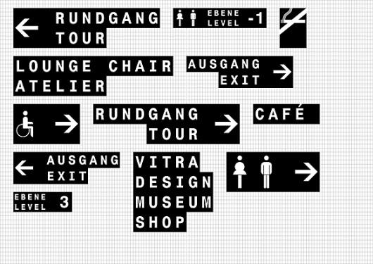 büro uebele // vitra campus information- and signagesystem weil am rhein, birsfelden 2011 #signage #vitra #typography