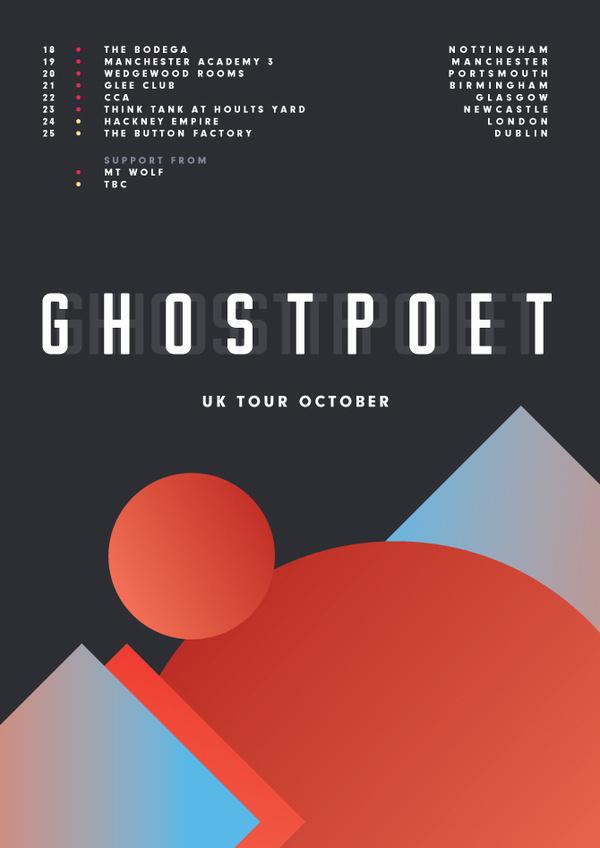 Ghostpoet UK Tour Poster #uk #ghostpoet #james #poster #kirkup #tour