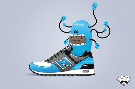 Sneaker's lover on the Behance Network #trainer #shoe #illustration #balance #character #new