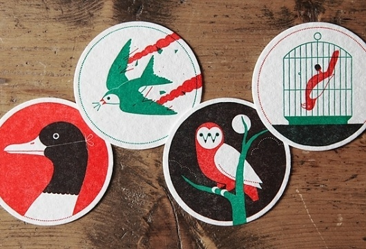 Creative Review - Ryan Todd's New Found Original letterpress coasters #illustration #bird