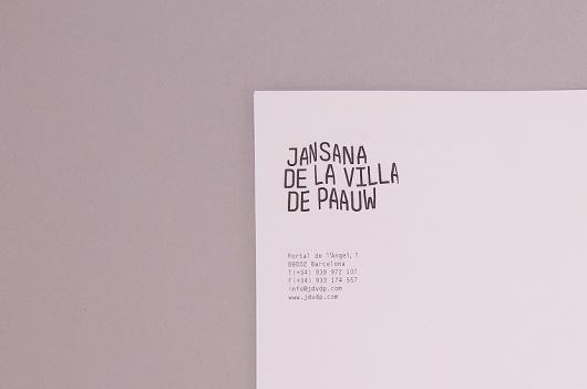 THEARTISTANDHISMODEL » Jansana De La Villa De Paauw Branding #branding #design #graphic #identity #stationery