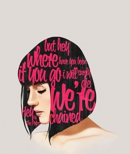 Illustrations by Andre De Freitas | Cuded #woman #thoughts #hair #illustration #typography
