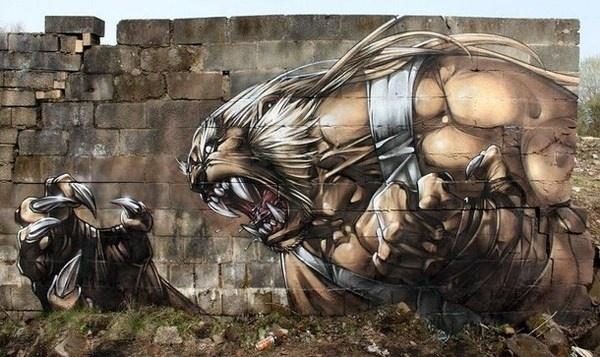 Fantasy graffiti street art
