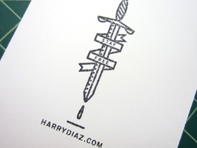 Dribbble - Stamp: Stay Free by Harry Diaz #stamp #vector #sword #texture