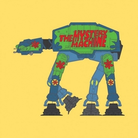 Re-styled AT-ATs on yay!everyday #vector #wars #illustration #star #funny #typography
