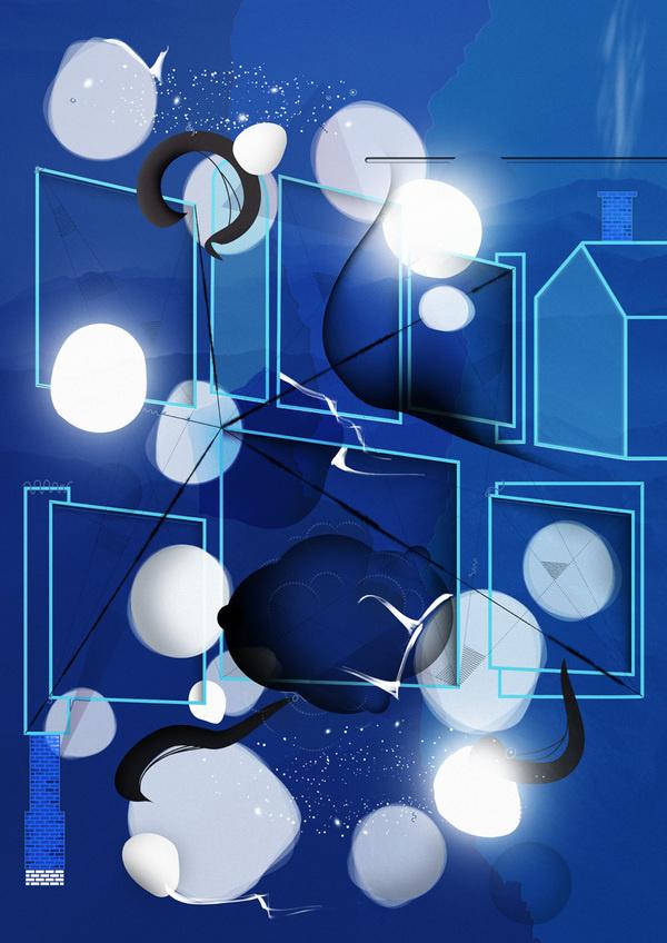 House #abstract #edvard #illustration #scott #blue