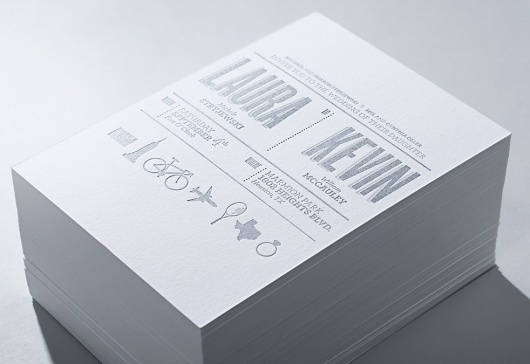 Wedding Invite / kevin-mccauley.com #invite #invitation #silver #card #letterpress #symbol #wedding #typography