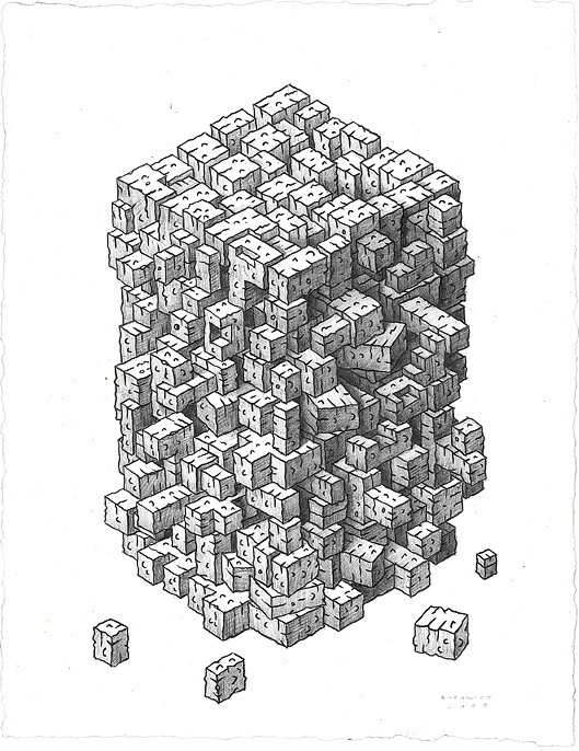 A plausible result of sustained spontaneity but does it float #graphite #illustration #rectangular #drawing #blocks