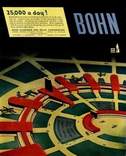 Bohn's 'Visions of the Future' Ads, 1940s | Retronaut #advertisement #illustration #bohn #airport #future