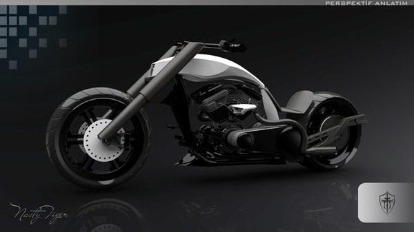 TT New Generation Chopper Motorbike #tech #modern #design #futuristic #craft #illustration #industrial #art