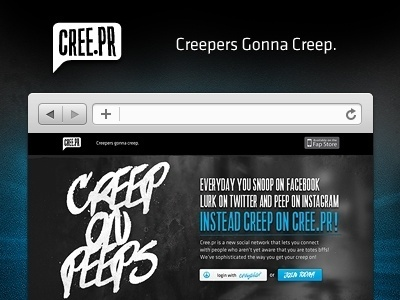 Dribbble - Cree.pr - The Social Network for Creeps! by Robert Williams #creeper #icon #button #facebook #grunge #type #media #social