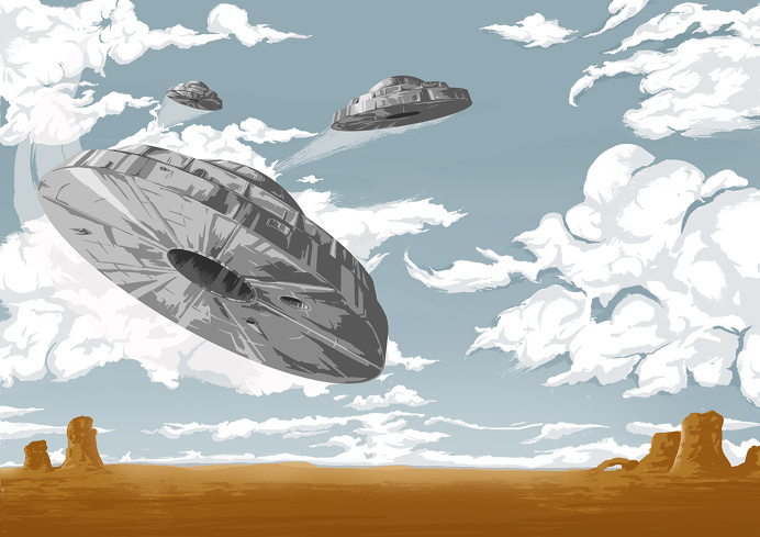 UFOs! #UFO #Illustration #Nevada #Clouds #Mystery