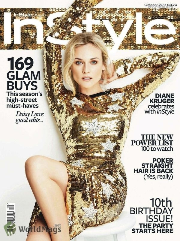 InStyle UK Oct 2011 Diane Kruger by Ben Watts styled Amanda Bellan hair Adir Abergal mu Fiona Stiles #kruger #cover #diane #gold #fashion #dress #magazine