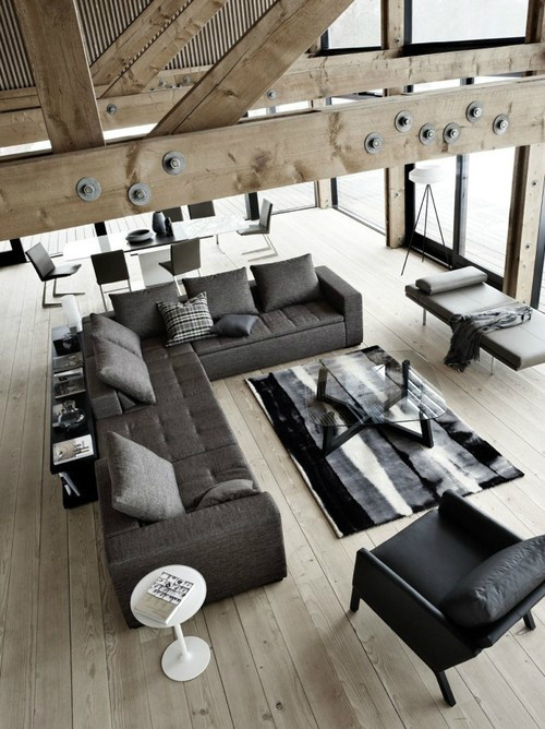 Living Room Ideas For Men 18 #sectional #couch #design #living #black #home #wood #carpet #area #gray #rug #room