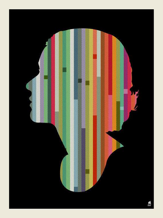 Striped Woman Screen Print #print #woman #art #illustration