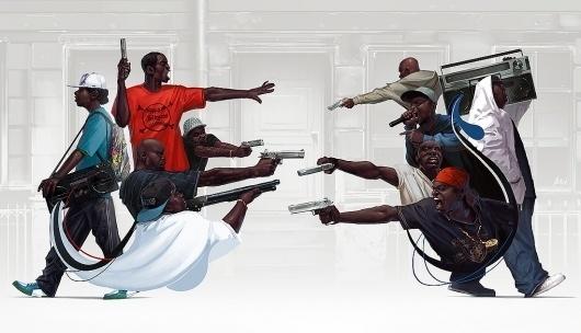 Illustration 2010 : michal lisowski #blackmen #illustration #guns #art #music