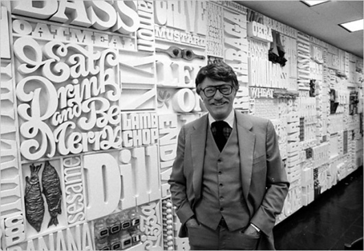 CBS Cafeteria wall typography by Lou Dorfsman in 1982 #cbs #wall #lou #dorfsman #typography