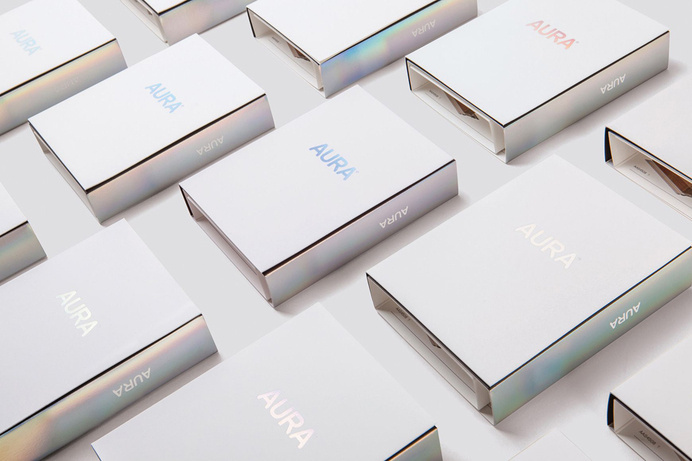 Aura #holographic #branding #packaging #foil #brochure