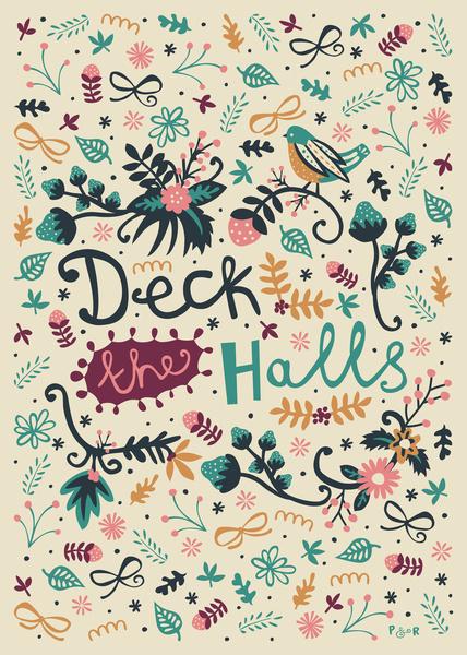 Deck the Halls Art Print #poppyred