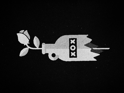 xox #halftone #white #icon #rose #design #black #texture #simple #illustration #minimal #and #flower #love