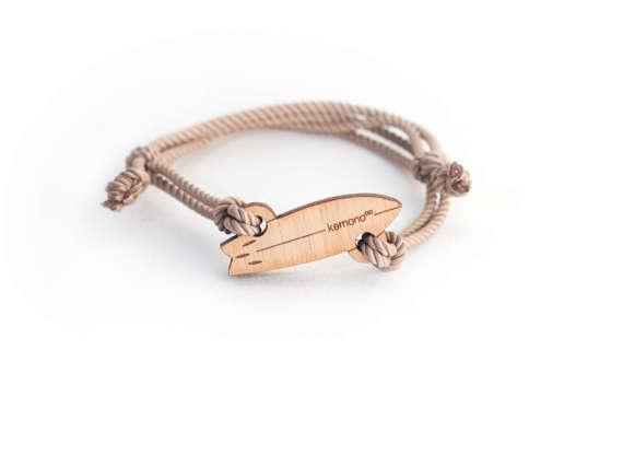 Surf Kemono #bracelet / #wristlet - #surfboard - wood edition - #wood - #sea #surf