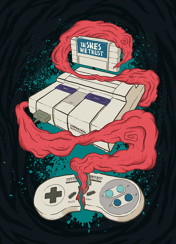 In SNES we Trust on Behance #controller #nintendo #snes #entertainment #recreation #video #illustration #gaming #play #game