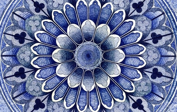 The Blue Carpet with Bic Pencils – Fubiz™ #illustration #pattern #geo