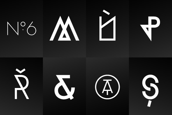 TJ Evolette A - Designed by 26plus #blackwhite #icon #symbols #geometric #type #typography