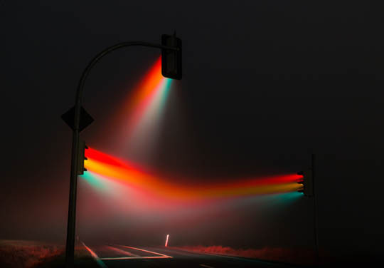 http://off-the-wall-b.tumblr.com/ #photography #lights #fog #mist #traffic lights