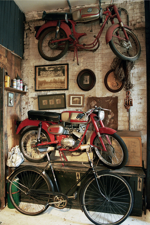Motorcycles #brick #wall #bicycle #motorcycles