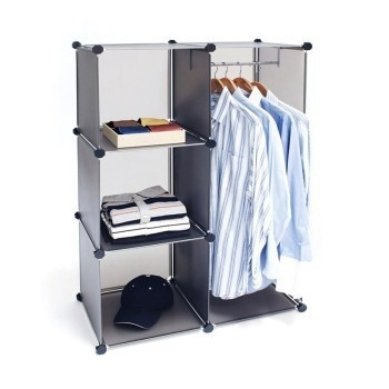 This cube closet organizer is designed based on a rearrangeable grid system. You can combine multiple systems to fit nearly any space! #design #home #product #furniture #industrial