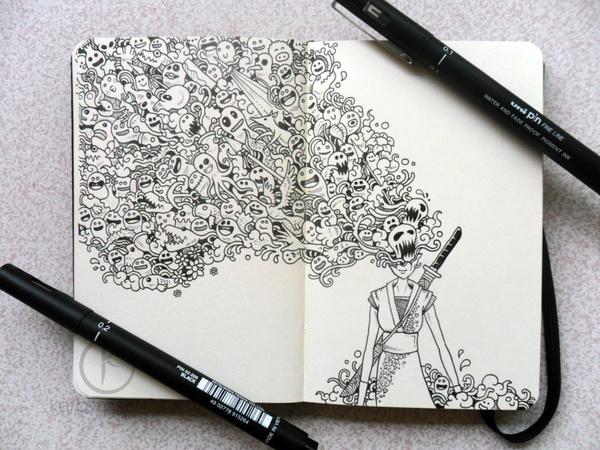 MOLESKINE DOODLES: Onna bugeisha by *kerbyrosanes on deviantART #doodle #ink #and #illustration #pen #moleskine