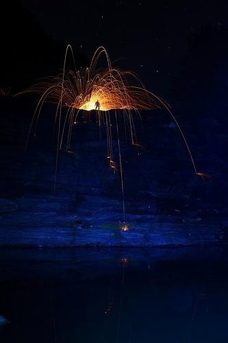 Dennis Calvert :: Light Painting #red #photo #orange #night #stars #figure #painting #blue #light