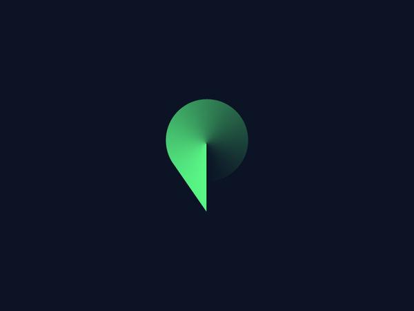 Pokke.me — Logo concept #angle #simple #letter #minimal #gradient #logo