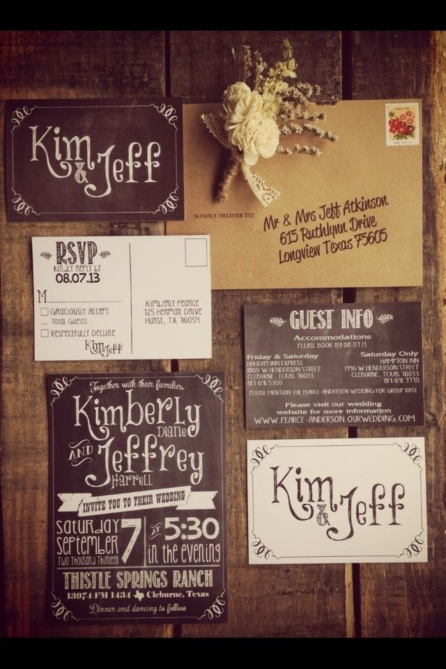 Chalkboard-style wedding invitations. Could be used #card #wedding #invitaions #typography