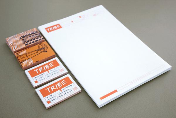Tribe Aron Vellekoop León #business #card #print #orange #head #letter #stationery